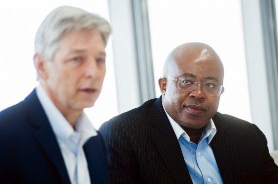 Steve Cornell, left, and Bongani Nqwababa. Image: Waldo Swiegers/Bloomberg
