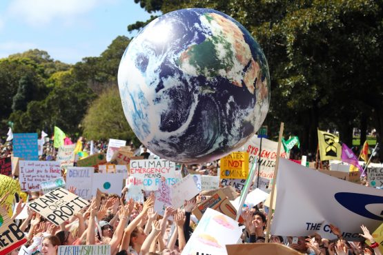School students gather in protest at the Global Climate Strike demonstration in Australia. The strike coincides with the United Nations Climate Action Summit in New York. Image: David Gray, Bloomberg