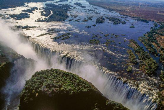 Aerial view of the Victoria Falls on the Zambezi River, Mosi-oa-Tunya National Park, Zambia, and Victoria Falls National Park, Zimbabwe. Image: Bloomberg