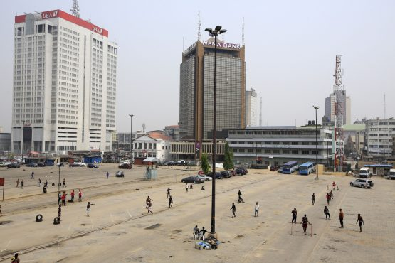 People play soccer at the Marina business district car park in Lagos Nigeria. Image: Bloomberg