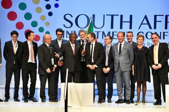 President Cyril Ramaphosa (centre) flanked by some of the business leaders who announced major investments into the country at the SA Investment Conference in Sandton on Wednesday. Image: Supplied