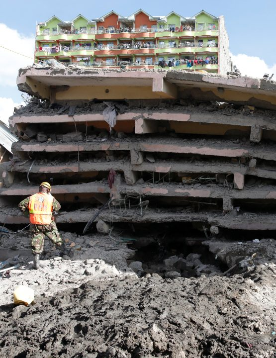 Rescue teams search the scene where a building collapsed in Nairobi, Kenya December 6, 2019. Image: Baz Ratner, Reuters