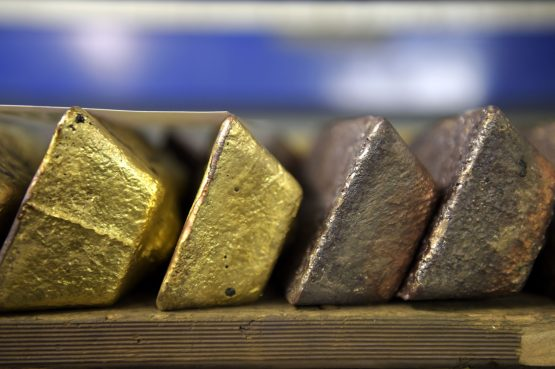 Anodes of gold sit in the vault at the Perth MInt Refinery in Perth, Western Australia. Image: Carla Gottgens/Bloomberg