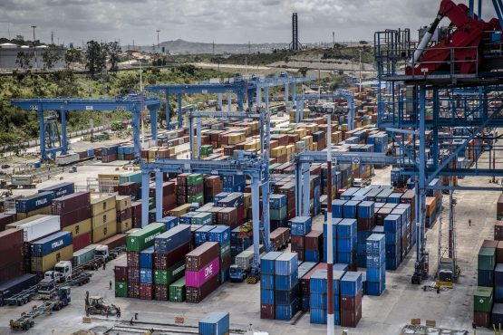 Cargo containers wait to be carried at the Port of Mombasa in the coastal city of Mombasa, Kenya. Image: Luis Tato/Bloomberg