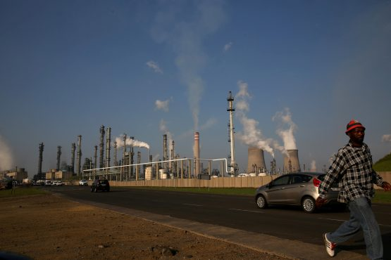 A man walks past Sasol's synthetic fuel plant in Secunda, in Mpumalanga. Image: Reuters