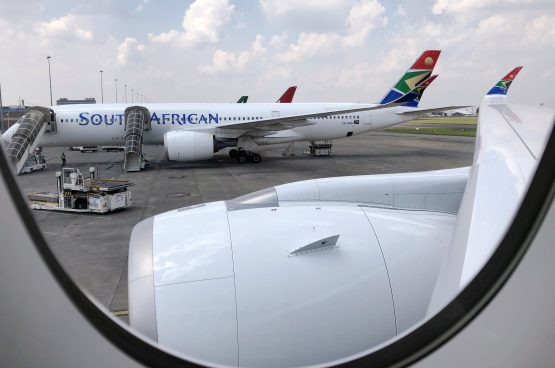 A South African Airways aircraft is seen at OR Tambo International Airport in Johannesburg. Image: Reuters