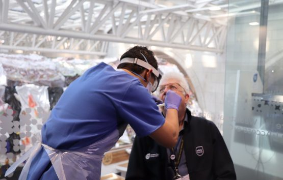 Western Cape Premier, Alan Winde, being tested by a healthworker for Covid-19 in early April. Image: @AlanWinde / Twitter