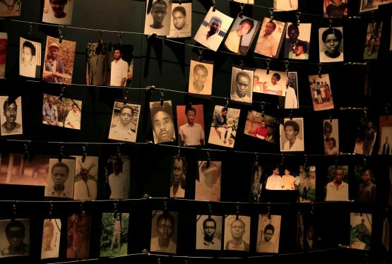 Photographs of people who were killed during the 1994 genocide are seen inside the Kigali Genocide Memorial Museum as the country prepares to commemorate the 20th anniversary of the genocide in the Rwandan capital Kigali April 5, 2014. An estimated 800,000 people were killed in 100 days during the genocide. REUTERS/Noor Khamis/File Photo
