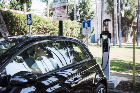 A ChargePoint electric vehicle charging station at Plummer Park in Los Angeles. Image: Dania Maxwell/Bloomberg
