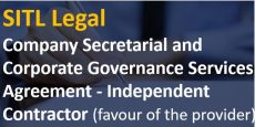 Company Secretarial and Corporate Governance Services Agreement – Independent Contractor (favour of the provider)