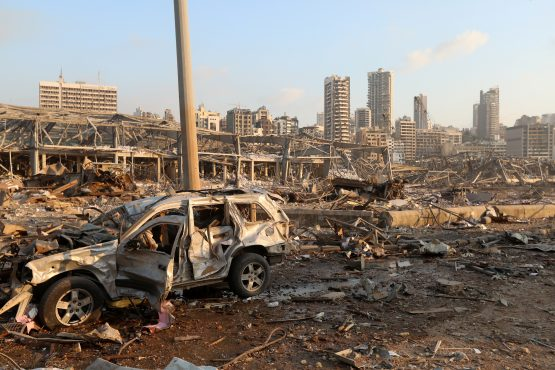 A damaged vehicle is seen at the site of an explosion in Beirut, Lebanon. Image: Mohamed Azakir, Reuters