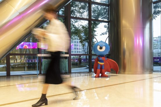 The mascot for Ant Financial is displayed in the lobby of the company's headquarters in Hangzhou China. Image Qilai Shen  Bloomberg