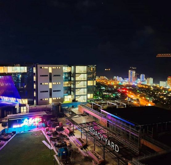 A night view of part of the Umhlanga Arch development, with Umhlanga Rocks seen in the background. Image: Supplied