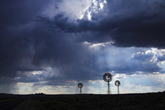 Brewing thunderstorm in the dessert area of the Karoo in South Africa. Shutterstock