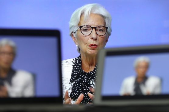 Christine Lagarde during a live stream video of the central bank's virtual rate decision news conference on Oct. 29. Image: Bloomberg