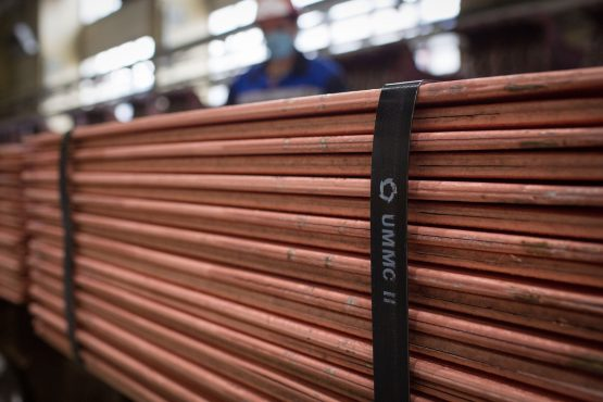 Branded binding secures newly-made copper cathode sheets. Copper reached its highest closing price since August 2011 this week. Image: Andrey Rudakov, Bloomberg