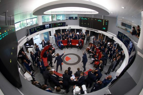 The open outcry pit at the London Metal Exchange in London. Image: Bloomberg