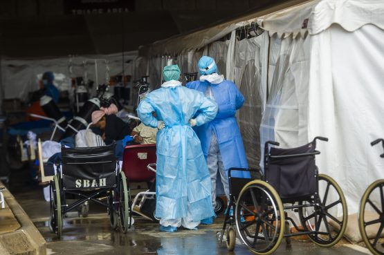 Healthcare workers screening patients for Covid-19 in this file photo taken at Pretoria's Steve Biko Academic Hospital. Image: Alet Pretorius/Gallo Images via Getty Images