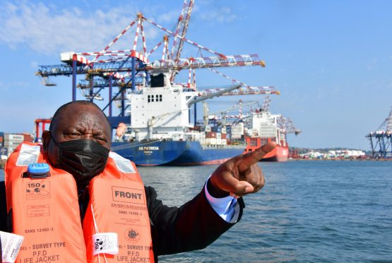 President Cyril Ramaphosa during the tour of the Port of Durban last week. Image: Supplied