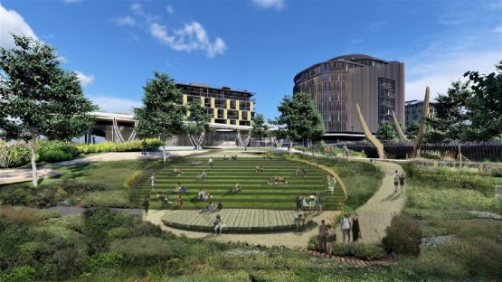 An amphitheatre is one of the focal points of the development. Image: River Club Website
