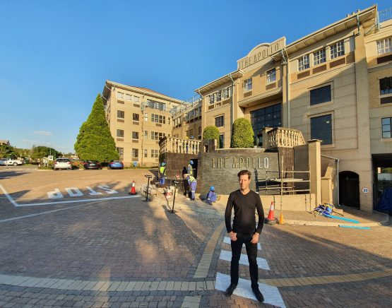 Justin Blend, director of Africrest Properties in front of the old PwC head-office campus in Sunninghill that is being converted into an apartment complex. Image: Suren Naidoo, Moneyweb