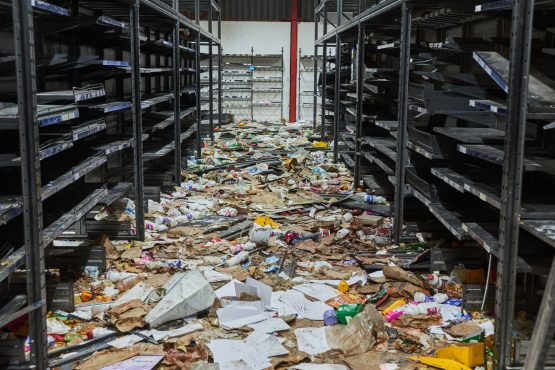 Marauding mobs ransacked hundreds of businesses, looting and destroying equipment and other assets, as at this supermarket pictured on July 15. Image: Bloomberg