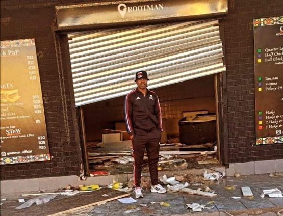 Former Orlando Pirates footballer Lucky Lekgwathi saved up for 20 years so he could have his own business, finally opening his Grootman restaurant in Soweto in April. Image: Supplied