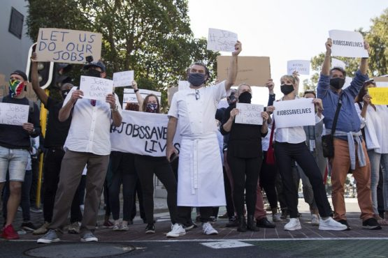 Restaurant workers protest from July 2020. File photo: Ashraf Hendricks