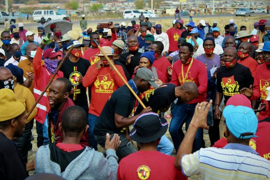Following the gunning down of Numsa volunteer recruiter, Malibongwe Mdazo, leaders of Numsa in Rustenburg held meetings with workers at some of Impala Platinum's mine shafts. Image: Masego Mafata