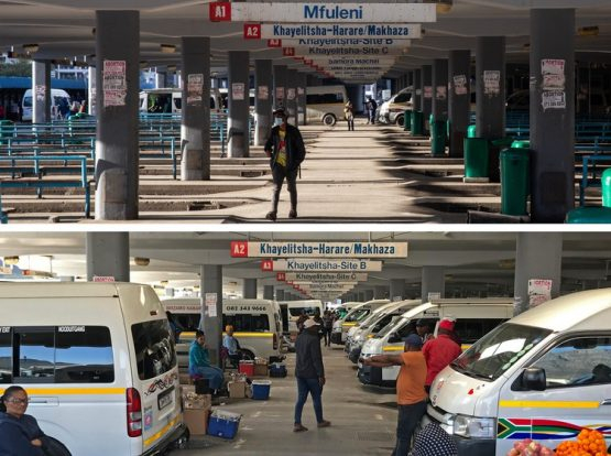 The top photo was taken on 20 July at the main taxi rank in Cape Town during taxi violence. The one below shows the rank, much busier, on Tuesday, 2 August, a day after Transport Minister Fikile Mbalula announced an agreement between rival taxi associations. Images: Ashraf Hendricks