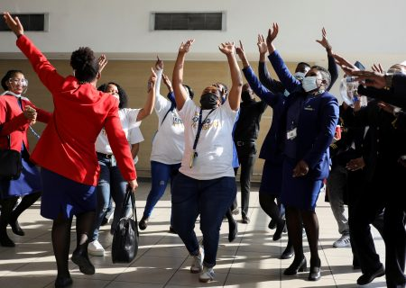 Singing and dancing as SA's national airline returns to the skies