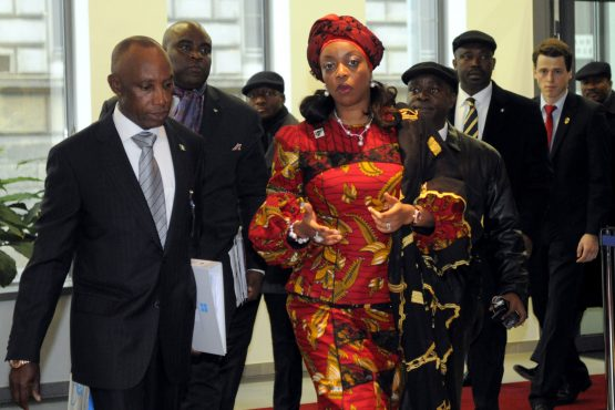 Diezani Alison-Madueke, centre, arrives for the start of an Opec meeting in Vienna in 2011. Image: Vladimir Weiss/Bloomberg