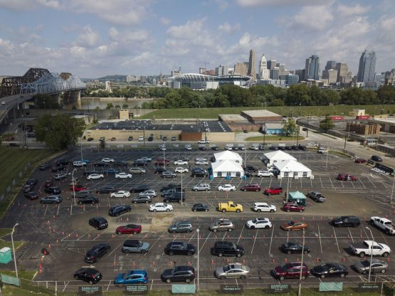 A drive-through Covid-19 testing site in Covington, Kentucky, on September 8. Image: Bloomberg