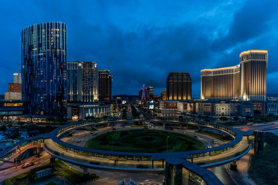 Casinos and hotels stand illuminated on the Cotai strip in Macau, China. Image: Bloomberg