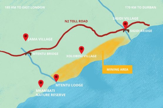 The proposed N2 Toll Road will cut through Sigidi village. Map: Lisa Nelson