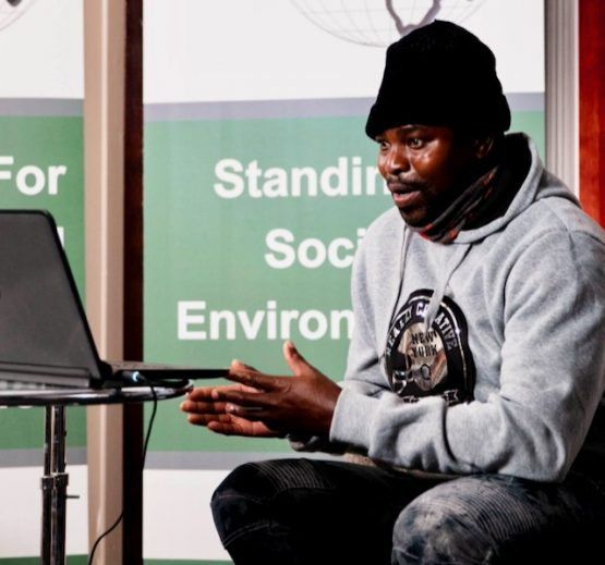 Ntsindiso Ncgavu, of Coastal Links Port St John's, spoke at the Oceans Tribunal, held at the DoubleTree hotel in Cape Town on 21 and 22 September, where small-scale fishers expressed concern over the impact power ships will have on fishing communities. Image: Supplied